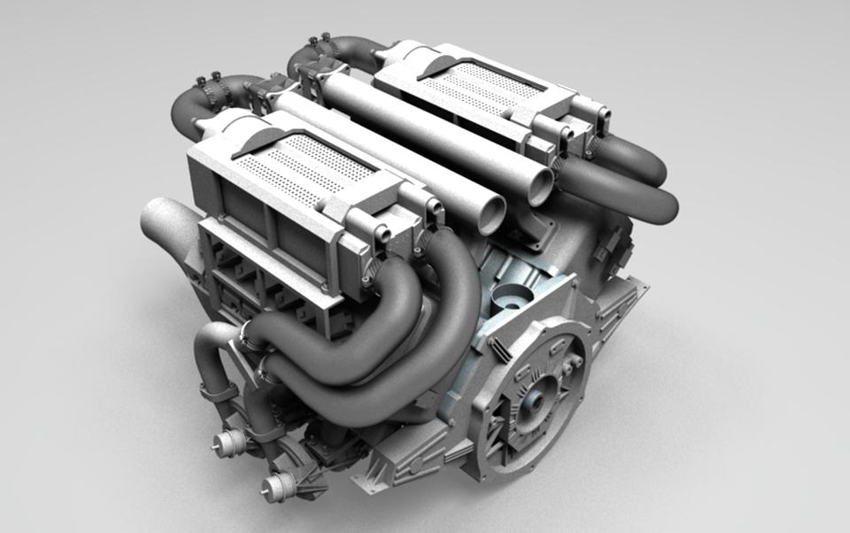 布加迪发动机4个涡轮增压3D打印模型