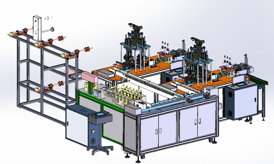 第二代一拖二口罩制作机的详细设计3D模型 3
