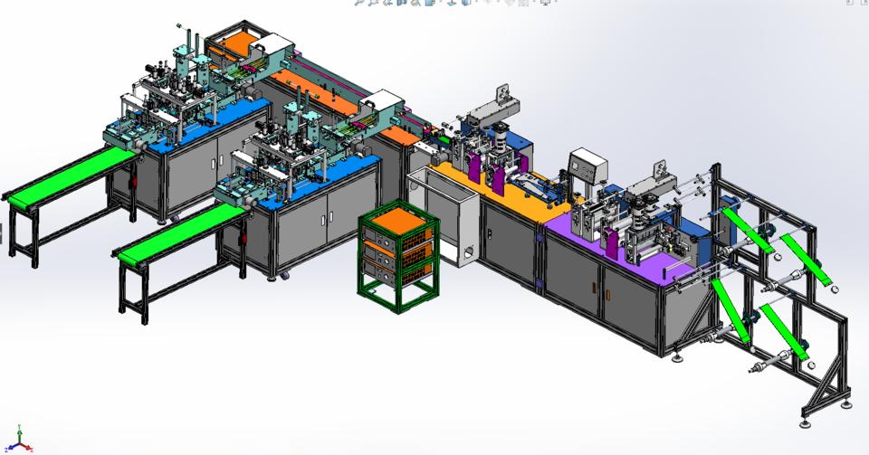 第二代一拖二口罩制作机的详细设计3D模型 1
