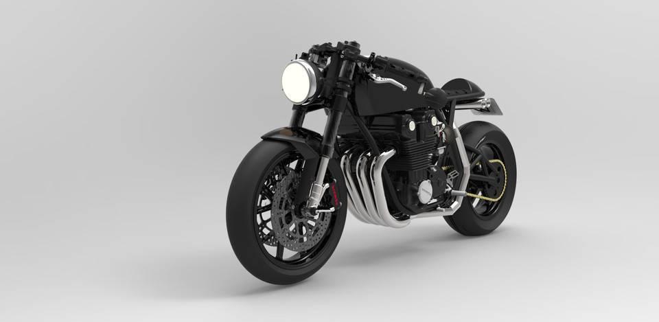 本田CAFE Racer概念摩托车3D打印模型 1