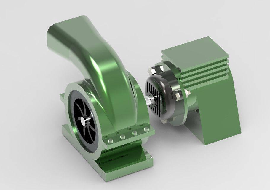 电动鼓风机3D打印模型插图1