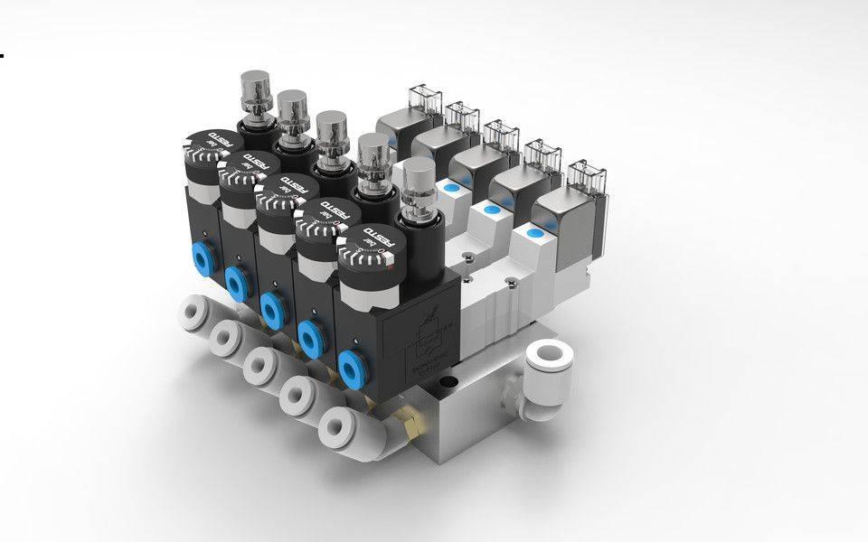 5槽气动电磁阀岛3D打印模型插图1