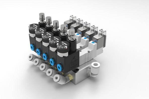 5槽气动电磁阀岛3D打印模型