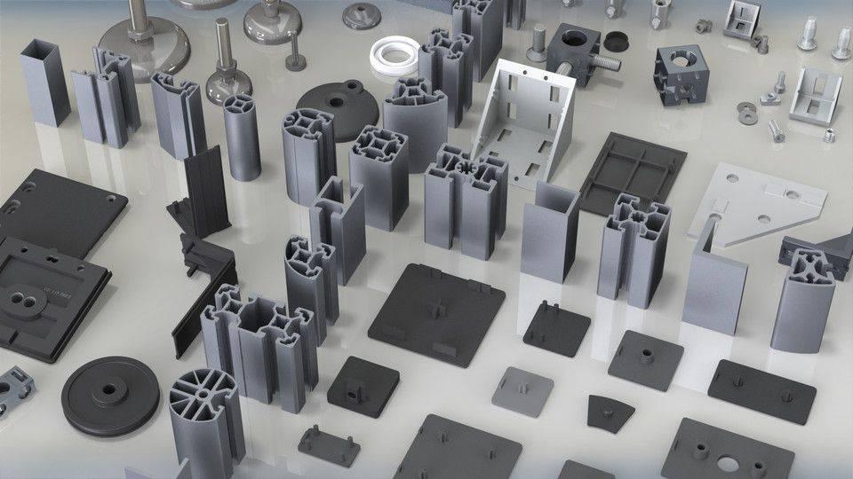 简档和部件的KJN铝型材整个BR库3D打印模型插图1