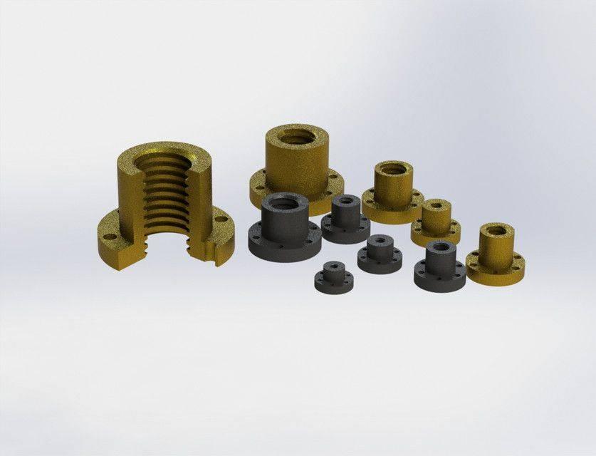 梯形丝杠螺母NTRBZK \ u0026 JFRM3D打印模型插图1