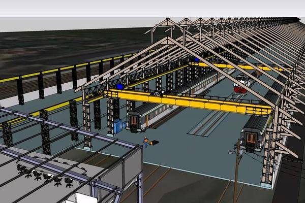 火车维修设施3D打印模型