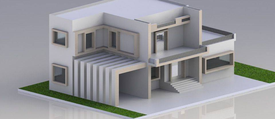 简约别墅房子3D打印模型插图1