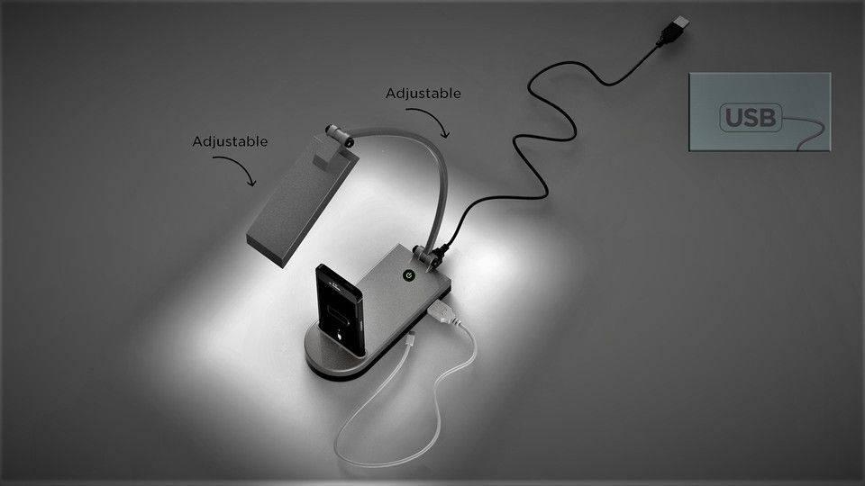LED台灯与USB端口和电话摇篮3D打印模型插图1