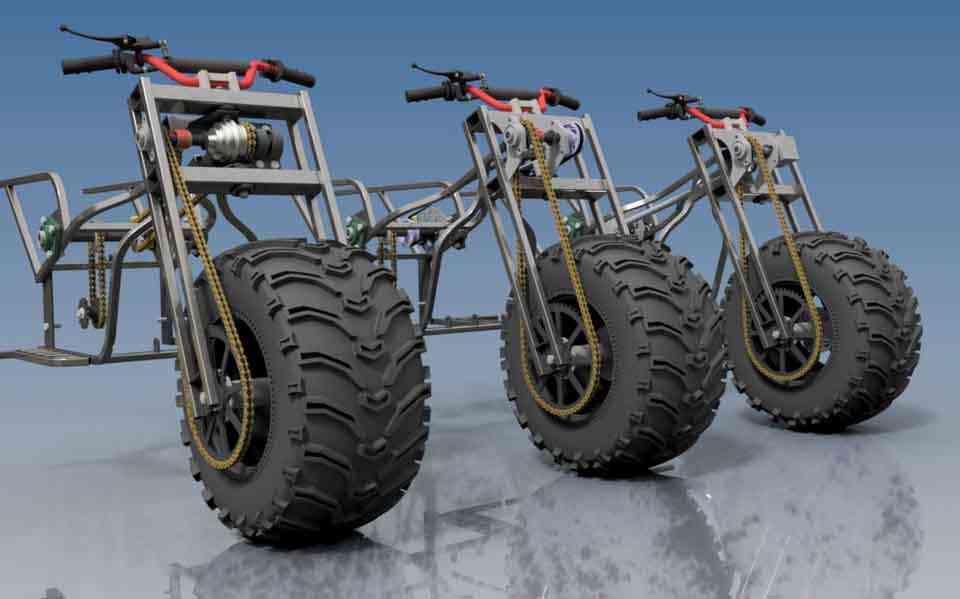 摩托车四轮驱动3D打印模型