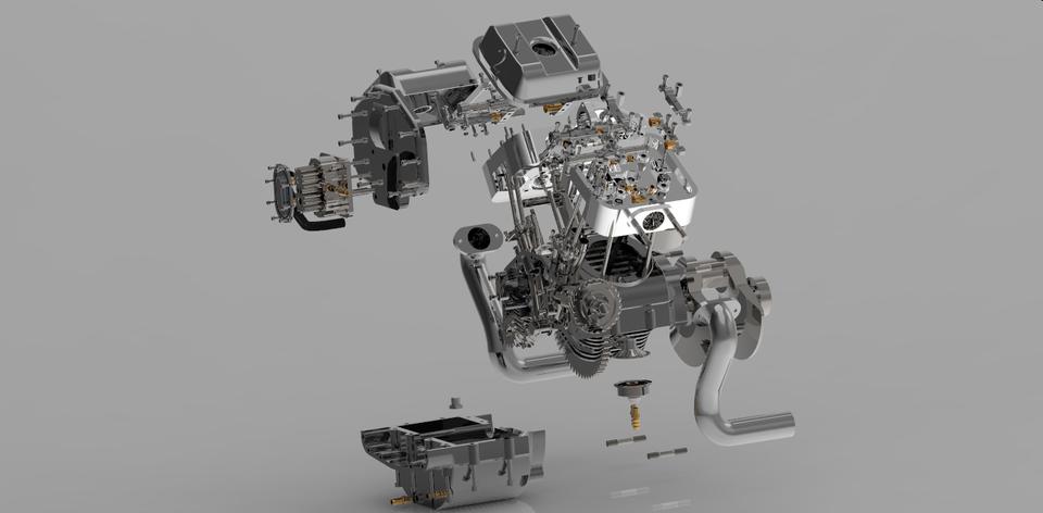 双缸发动机3D打印模型 1
