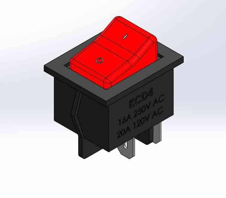 KCD4船型开关4 PIN3D打印模型插图1
