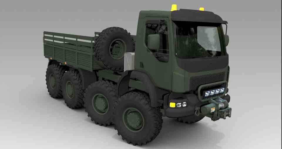 军用卡车的8x83D打印模型插图1
