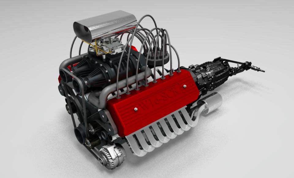 W16发动机3D打印模型插图1