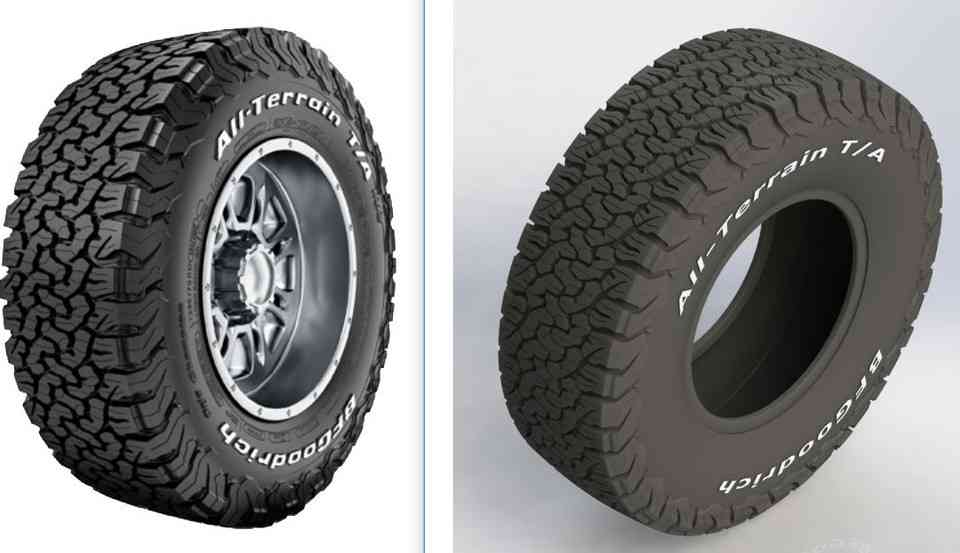 OFF ROAD轮+轮胎 - 百路驰全地形TA KO2  -  265x70R173D打印模型插图1