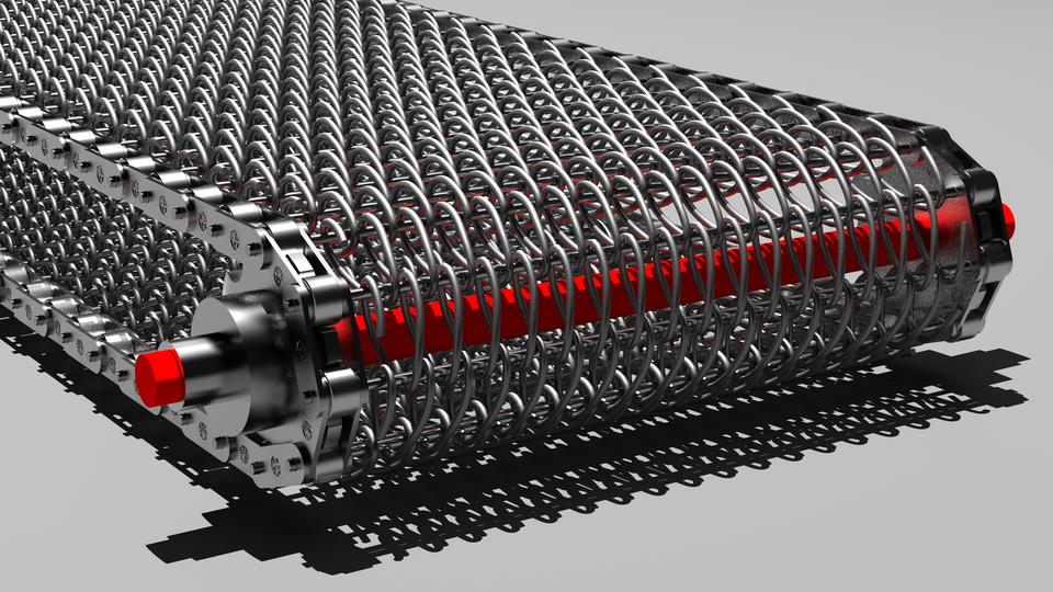 金属输送带 - 丝网带式输送机3D打印模型插图1