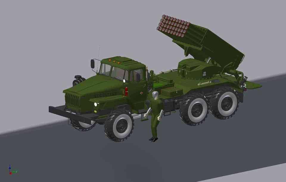 卡车乌拉尔4320与BM-213D打印模型插图1
