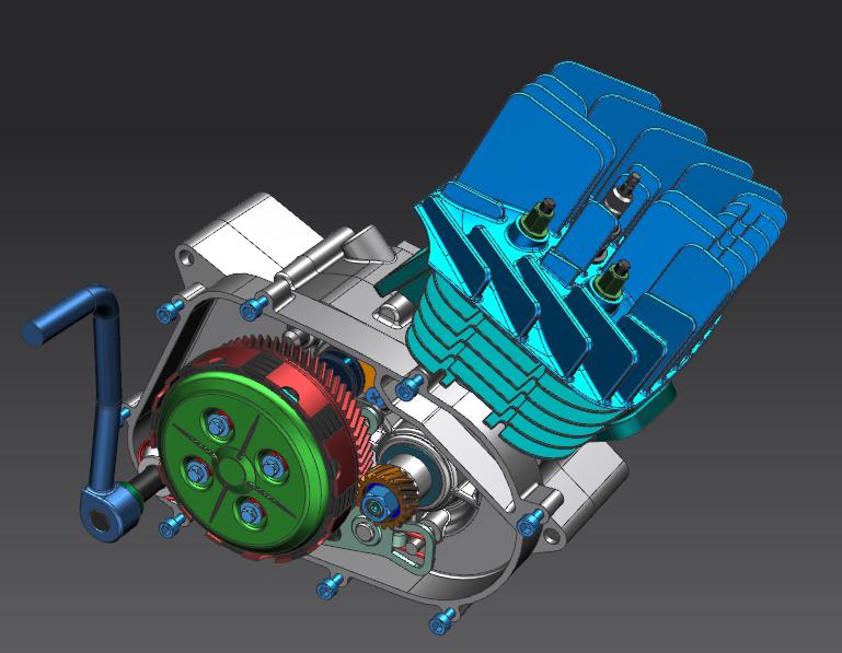 雅马哈DT 80 MX引擎3D打印模型插图1