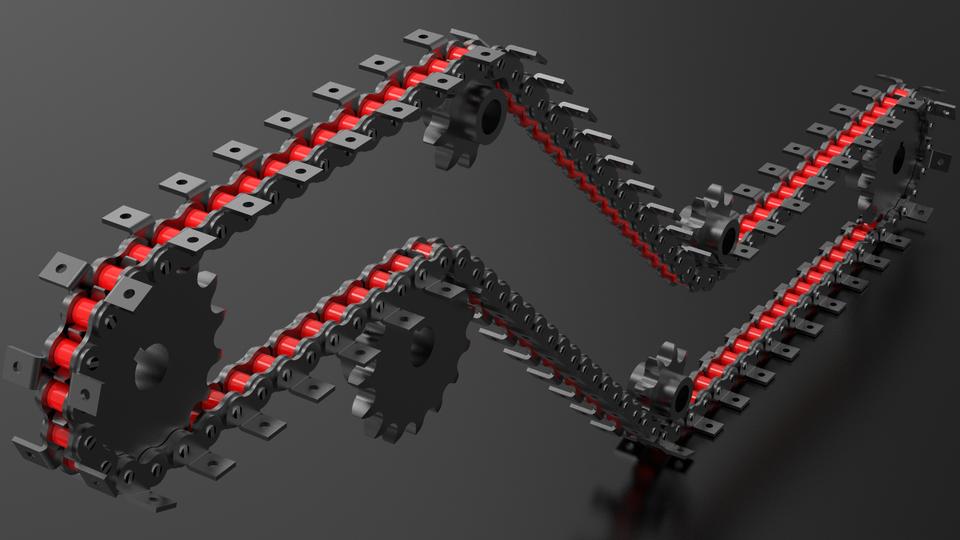 带有附件的K1 2X2滚子链3D打印模型
