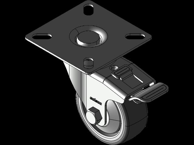 脚轮BDPE 50 MM总防抱死制动3D打印模型插图1