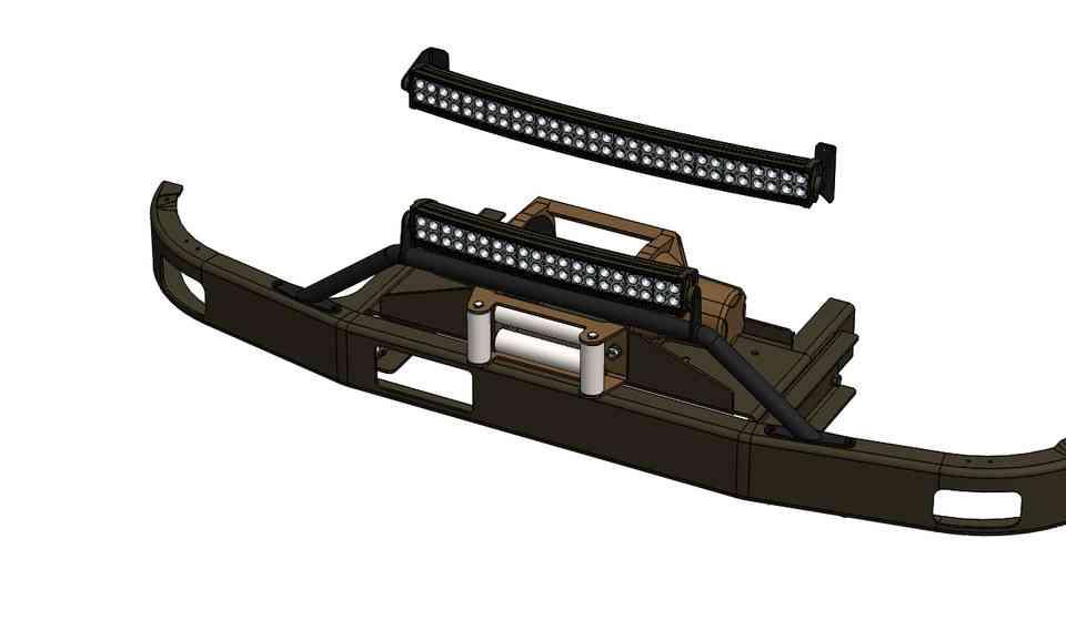 乌尼莫克404电动绞盘组件,带LED排灯3D打印模型