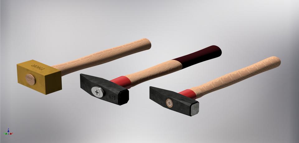 锤设置3个工程师黄铜3D打印模型