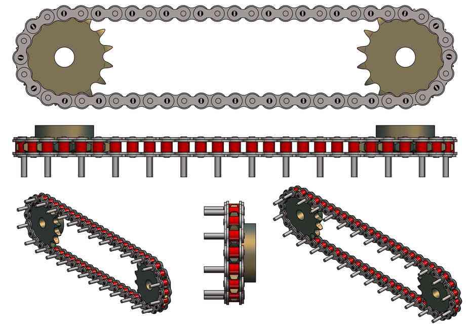 滚子链与扩张销 -  80 ANSI(ASA 80)3D打印模型 1