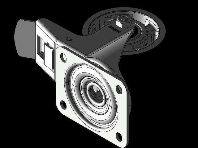 脚轮BTAB 160毫米总防抱死制动3D打印模型插图1