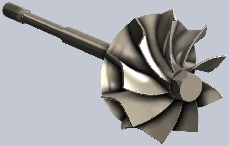 涡轮增压器涡轮轴3D打印模型 1