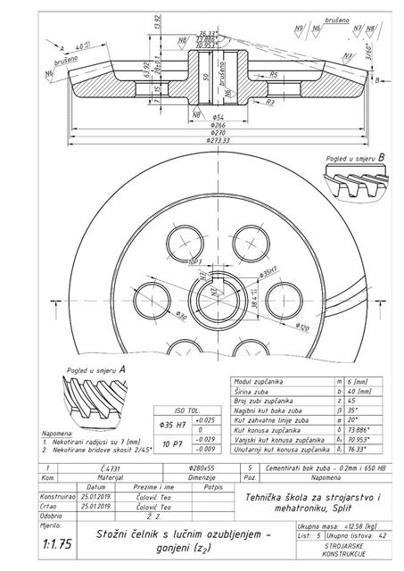 螺旋伞齿轮 - 锥头具有弧形轴3D打印模型插图1