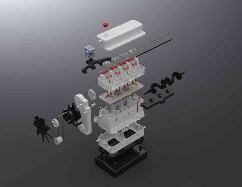 Airfix膨胀4缸发动机3D打印模型