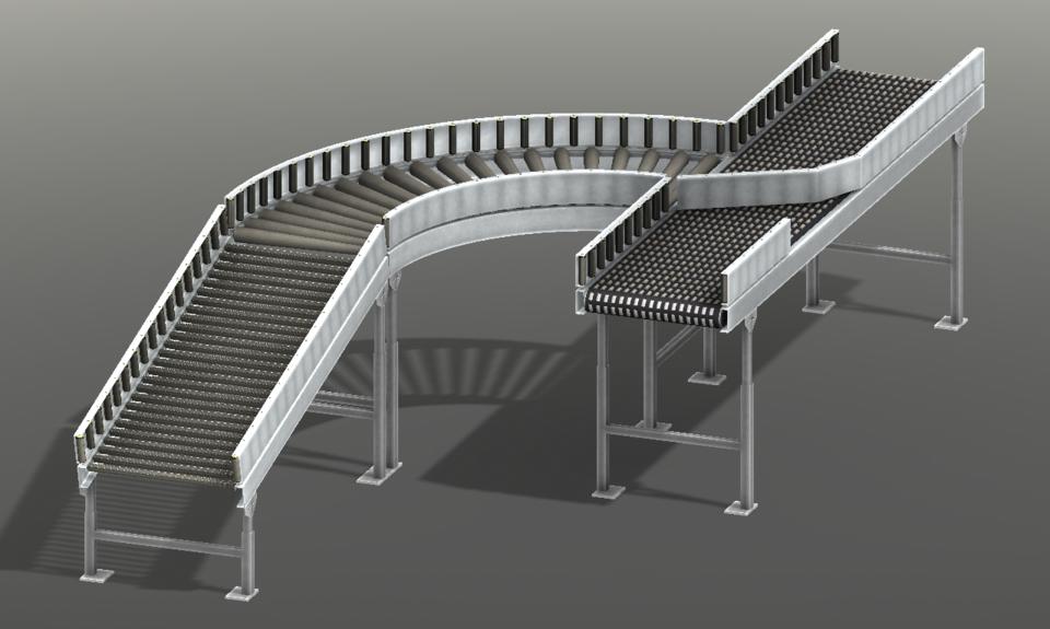 发散轮胎输送3D打印模型