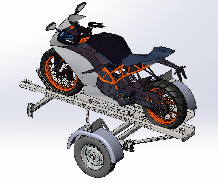 摩托车拖车3D打印模型