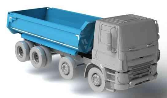 半 - 管翻斗车身的卡车DAF CF(GVM  -  32000千克)3D打印模型插图1