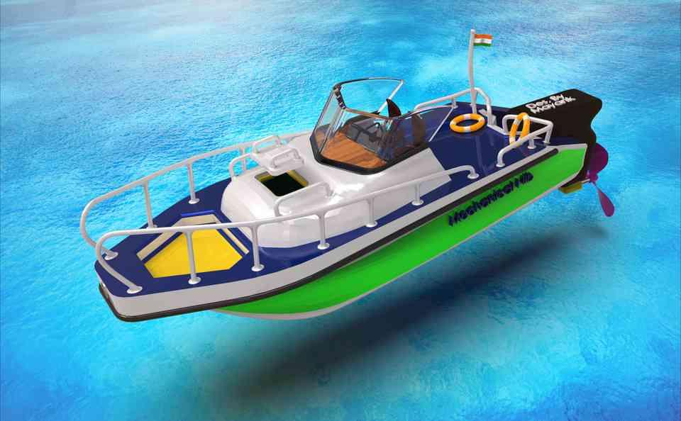 船由机械笔尖(19厘米长)3D打印模型 1
