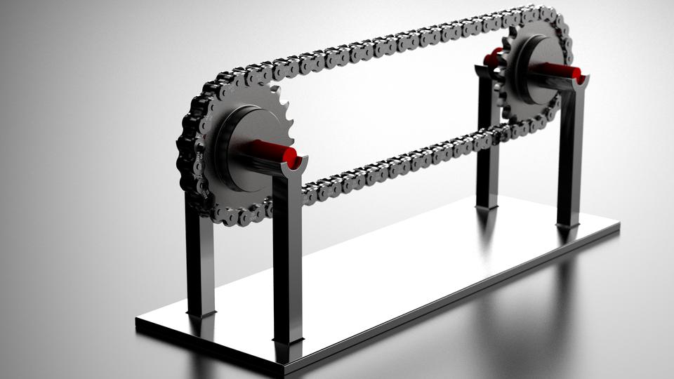 传动链和齿轮传动装置 -  60 ANSI3D打印模型