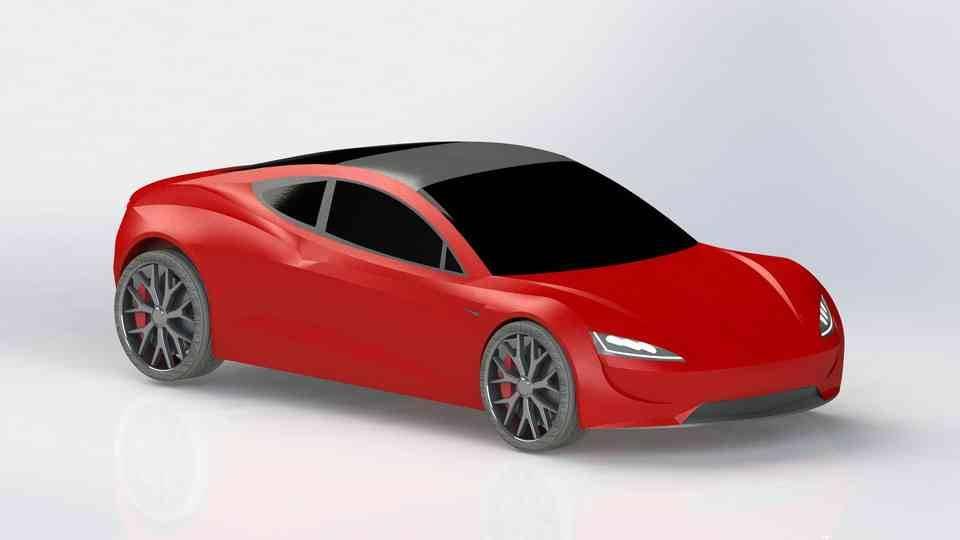 特斯拉跑车3D打印模型插图1