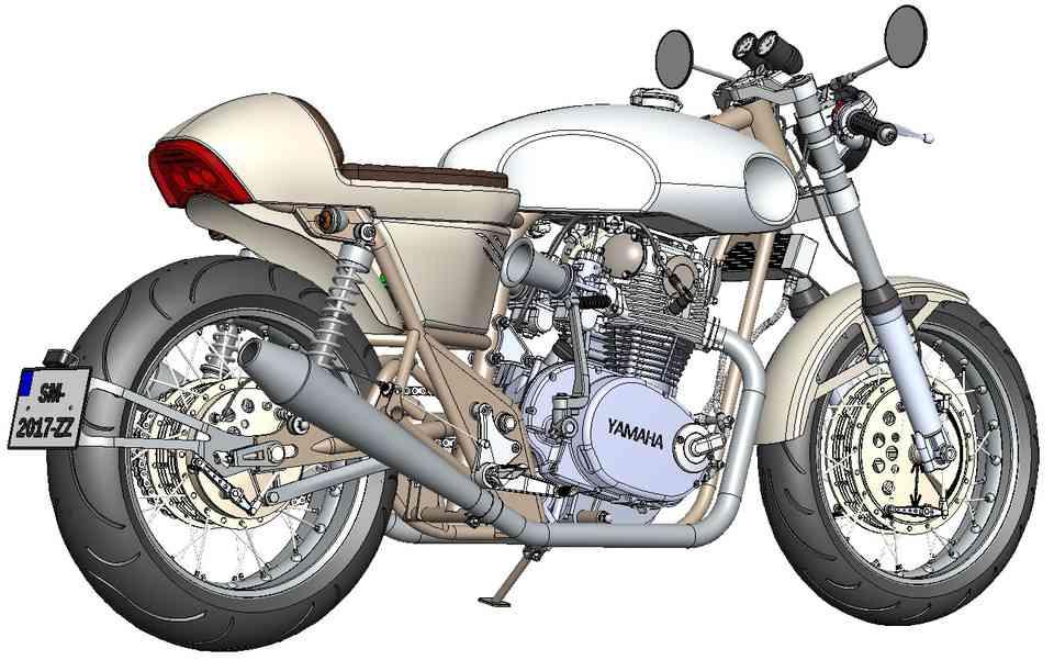 XS 650咖啡厅赛车摩托车3D打印模型插图1