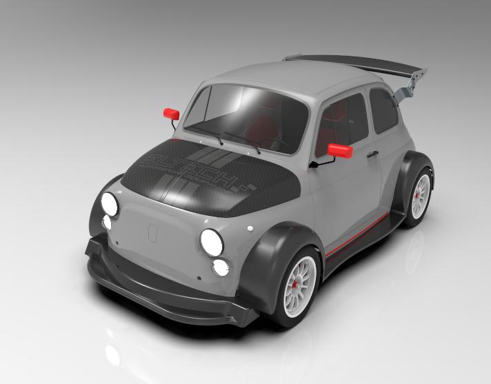 菲亚特500赛车版3D打印模型插图1