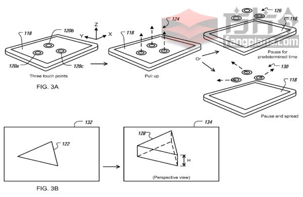 苹果获得一项在触摸屏上通过手势操控和制作3D对象的技术专利插图3