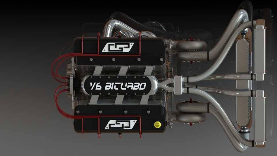 双涡轮增压V6 ENGIN3D模型插图1