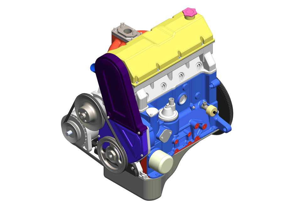 LA(VAZ)2105发动机3D打印模型下载插图1