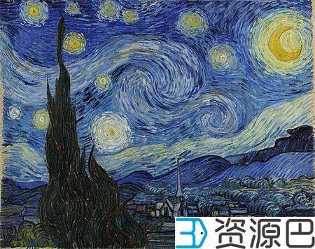 3D打印精准复制梵高绝世名画《星空》插图1