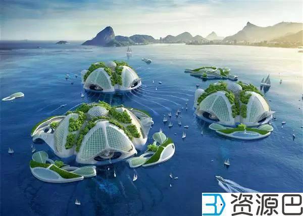 用塑料垃圾3D打印的海洋城市插图3