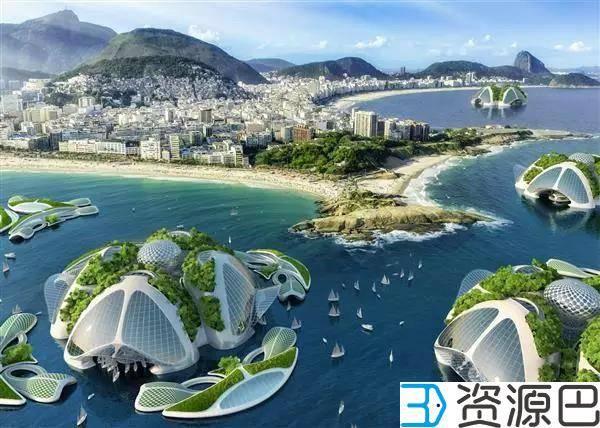 用塑料垃圾3D打印的海洋城市插图1
