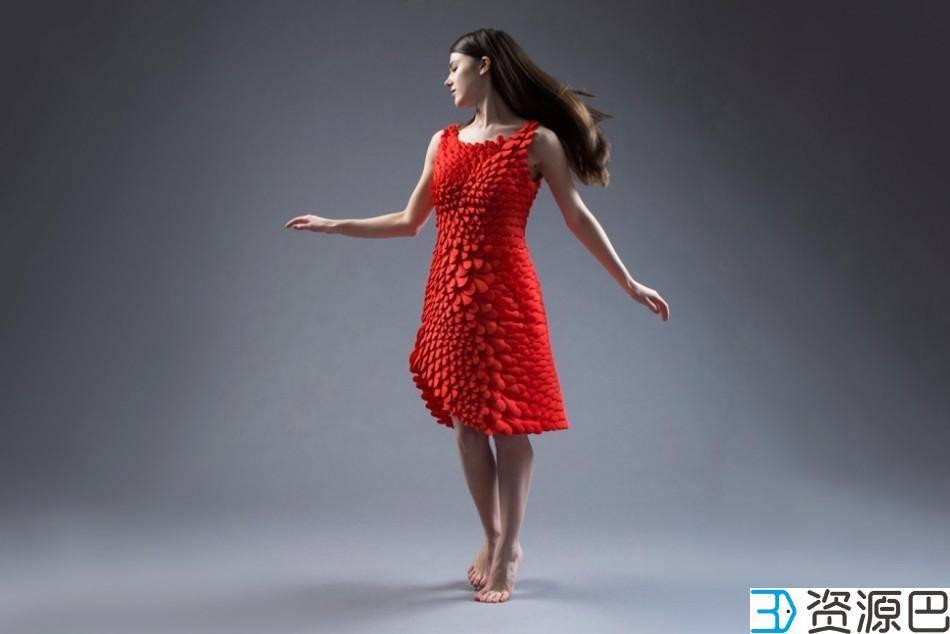惊艳之作:3D打印红裙,千片拼装成完美插图7